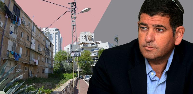 יוסי ברודני והבניינים בשכונת גיורא / צילום: איל יצהר, תמר מצפי. עיבוד: טלי בוגדנובסקי