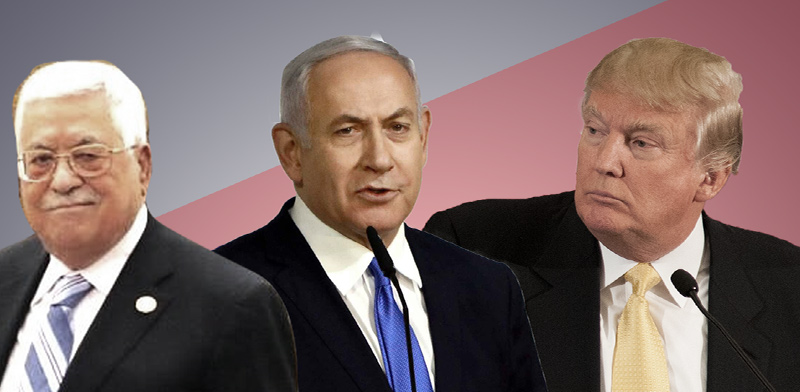Trump, Netanyahu and Abu Mazen Collage: Tali Bogdanovsky