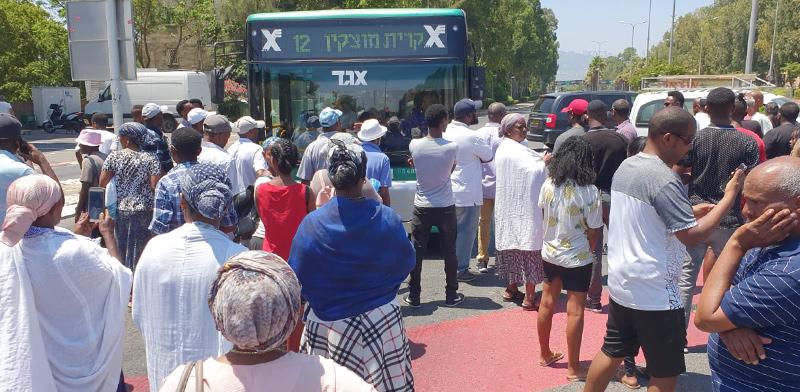 """יוצאי אתיופיה מפגינים על הירי בסלומון טקה ז""""ל / צילום: שלומי גבאי, וואלה"""