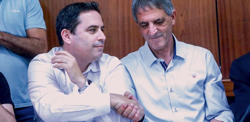 """עו""""ד אבי חימי (מימין) ועו""""ד עמית בכר בימים טובים יותר / צילום: שלומי יוסף"""