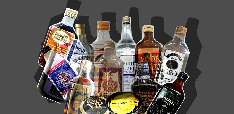 בקבוקי אלכוהול מזויפים / אילוסטרציה: טלי בוגדנובסקי