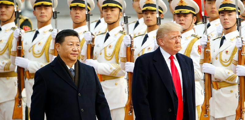 """נשיא ארה""""ב דונלד טראמפ ומקבילו הסיני שי ג'ינפינג / צילום: רויטרס"""