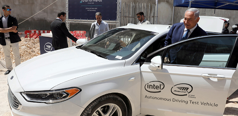 Benjamin Netanyahu in Mobileye car  / Photo: Abir Sultanת Reuters , Reuters