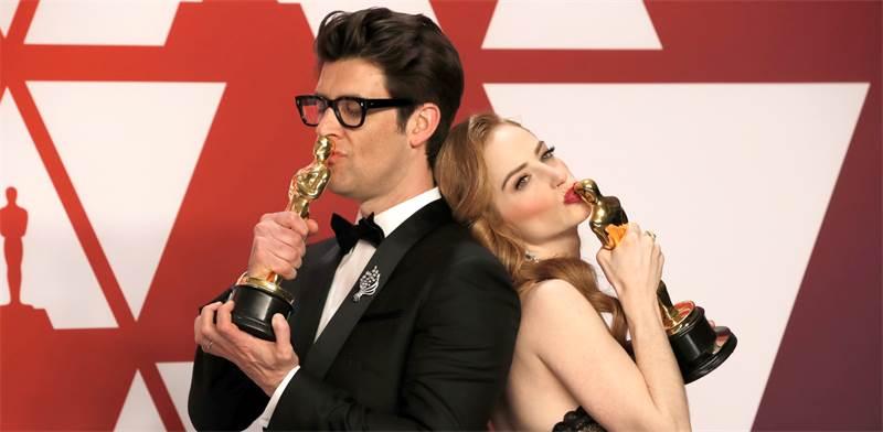 גיא נתיב וזוגתו ג'יימי ריי ניומן, זוכי אוסקר 2019 לסרט הקצר הטוב ביותר / צילום: REUTERS/Mike Segar