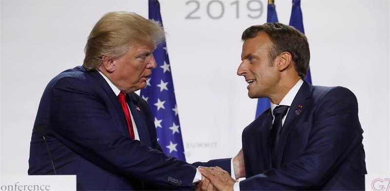 "נשיא צרפת עמנואל מקרון ונשיא ארה""ב דונלד טראמפ בפסגת ה-G7 / צילום: Christian Hartmann, רויטרס"
