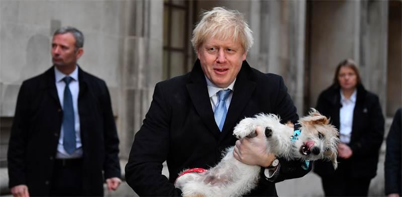 בוריס ג'ונסון והכלב שלו, אחרי הצבעה בבחירות בבריטניה / צילום: Dylan Martinez, רויטרס