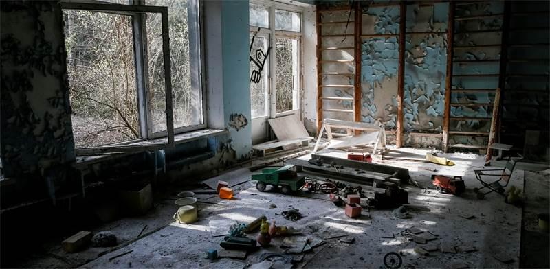 גן ילדים נטוש בעיירייה פריפיאט, שליד צ'רנוביל / צילום: Gleb Garanich, רויטרס