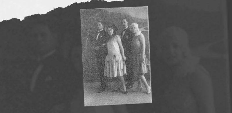 ז'אן וצ'רנה (משמאל), סבא וסבתא של עמירם ברקת, עם חבריהם הדי ודוקטור זיגל