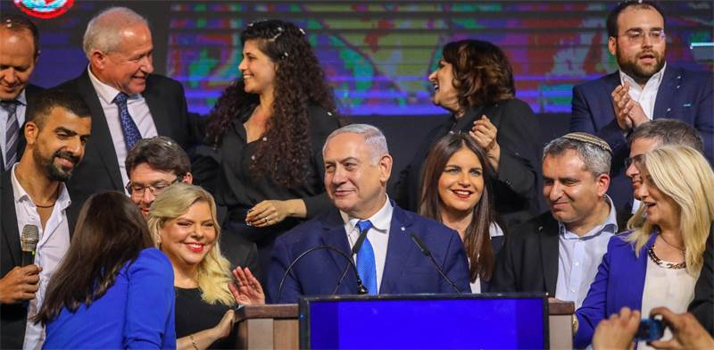 בנימין נתניהו בנאום ניצחון / צילום: שלומי יוסף