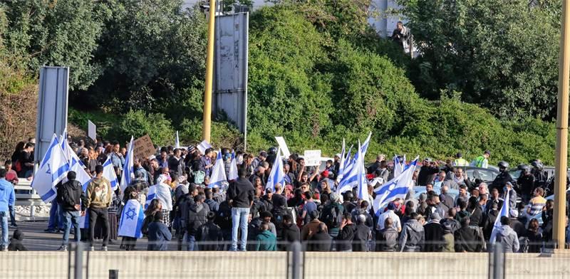 מחאת יוצאי אתיופיה נגד אלימות משטרתית בנתיבי איילון / צילום: שלומי יוסף