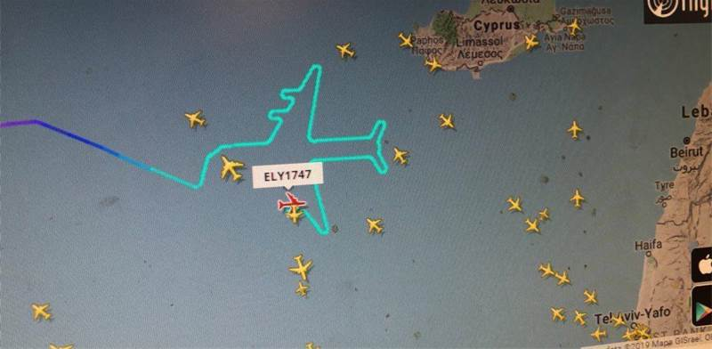 El Al jumbo route near Cyprus / Imagin: filghtradar 24