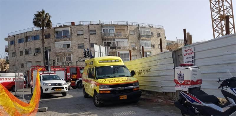 """תאונת בנייה בירושלים / צילום: מד""""א"""