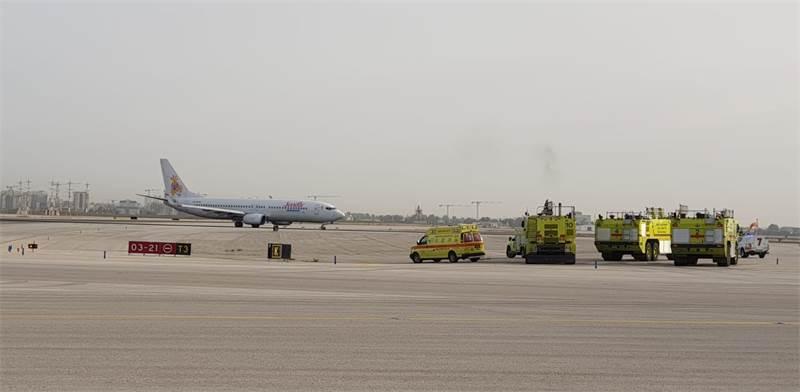 """נחיתת החירום בנתב""""ג / צילום: דוברות רשות שדות התעופה"""