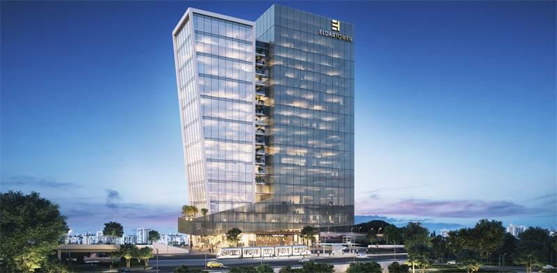 """""""מגדל אלדר"""" בפארק העסקים החדש בחולון. תחנת הרכבת הקלה תהיה צמודה לפרויקט / הדמיה: חברת 3DVISION"""