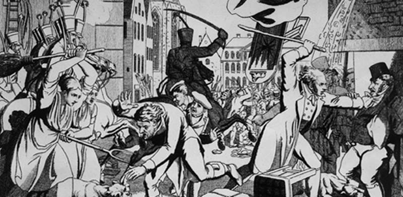 איור של הצייר הגרמני בן התקופה, יוהן מיכאל וולץ. פוגרום 1819 בפרנקפורט / צילום: מתוך ויקימדיה