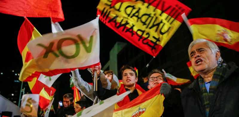 מפלגת הימין הלא־דמוקרטי בספרד חוגגת את התוצאות / צילום: רויטרס - Susana Vera