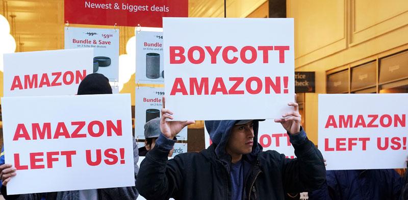 הפגנה נגד תוכנית הבנייה של אמזון / צילום: רויטרס, Carlo Allegr