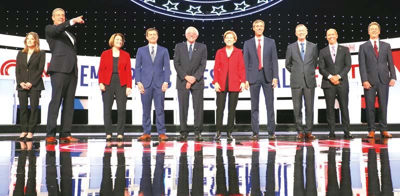 עשרה מהטוענים הדמוקרטים/ צילום: רויטרס