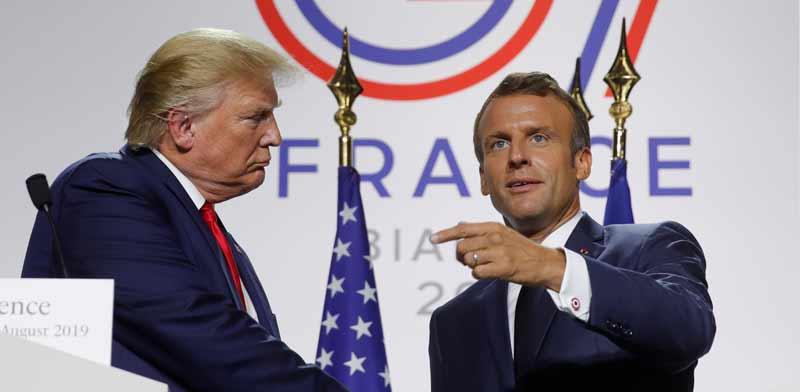 """נשיא ארה""""ב דונלד טראמפ ונשיא צרפת עמנואל מקרון / צילום: רויטרס"""