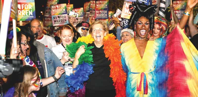 אליזבת וורן במצעד הגאווה בלאס וגאס בחודש שעבר/ צילום: רויטרס, RICHARD BRIAN
