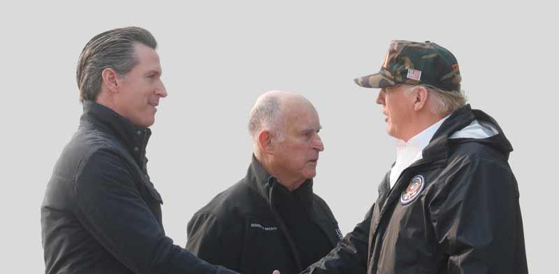 """נשיא ארה""""ב דונלד טראמפ ומושל קליפורניה גאווין ניוסום / צילום: רויטרס"""
