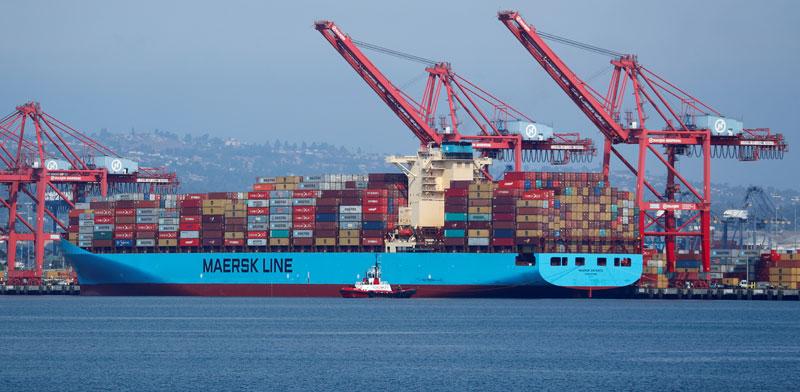 אונייה של ענקית המכולות הדנית מארסק/ צילום: רויטרס, Mike Blake