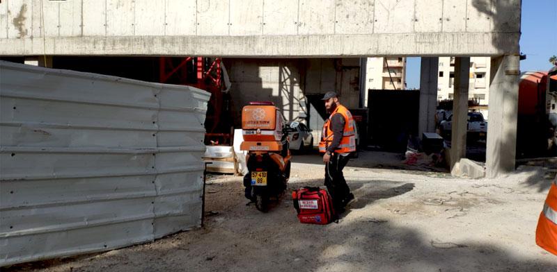 אתר הבנייה ברחוב אחד העם 7, חדרה / צילום: איחוד הצלה
