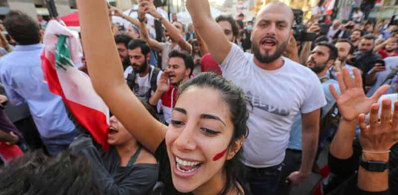 מפגינים בלבנון / צילום: רויטרס