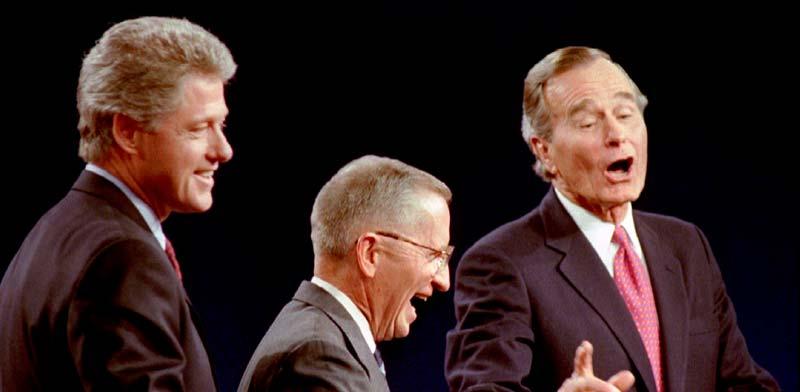בוש האב, פרו וקלינטון בעימות לקראת בחירות 1992/ צילום: רויטרס, Mark Cardwell
