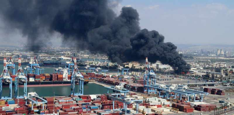 Haifa Bay - fire at Shemen Industries