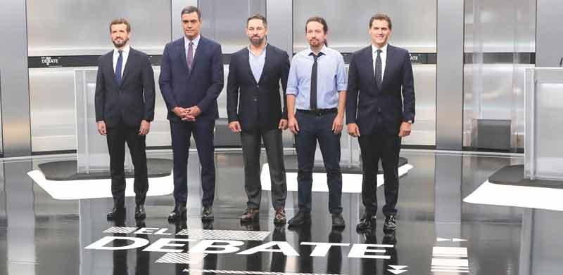 חמשת המועמדים המובילים בבחירות בספרד בעימות הטלוויזיוני / צילום:  רויטרס
