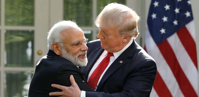 "נשיא הודו נרנדרה מודי ונשיא ארה""ב דונלד טראמפ / צילום: רויטרס  Kevin Lamarque"