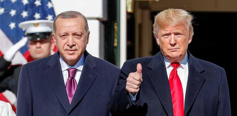 הנשיא דונלד טראמפ ונשיא טורקיה רג'פ טאיפ ארדואן, אמש / צילום: רויטרס