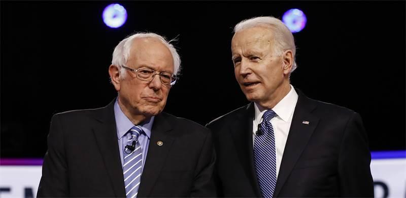 ג'ו ביידן וברני סנדרס / צילום: Matt Rourke, AP