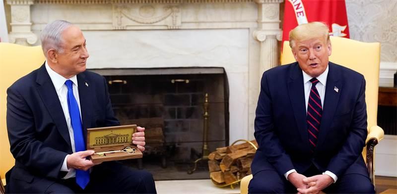 דונלר טראמפ ובנימין נתניהו בבית הלבן בחתימת ההסכם ההיסטורי  / צילום: AP