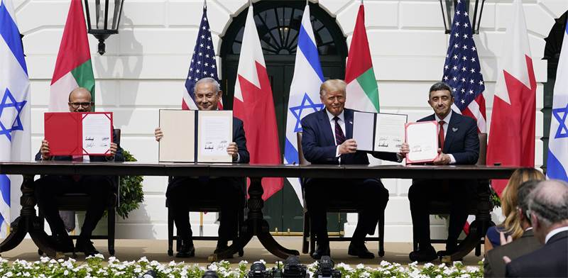 חתימת הסכם השלום עם איחוד האמירויות ובחריין בבית הלבן / צילום: Alex Brandon, AP