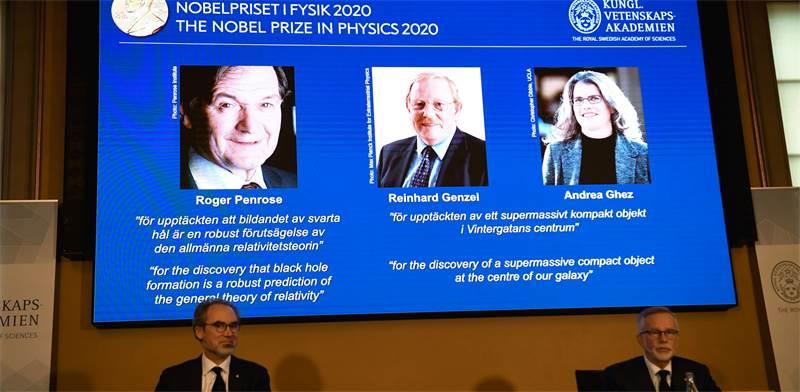 הכרזת הזוכים בפרס הנובל בפיזיקה  / צילום: TT News Agency/Fredrik Sandberg , רויטרס