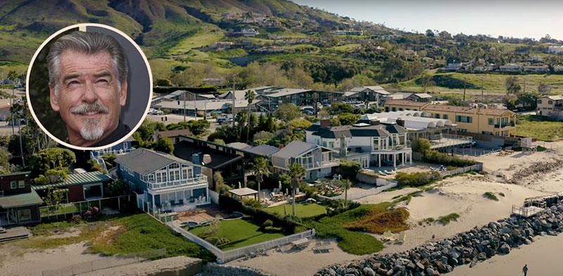 השכונה שבה נמצאת האחוזה של פירס ברוסנן (בעיגול) שבמאליבו / צילום: יוטיוב, Jordan Strauss/AP