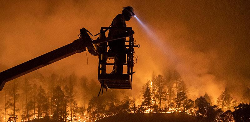 כבאי עומד מעל היערות הבוערים של קליפורניה / צילום: Adrees Latif, רויטרס