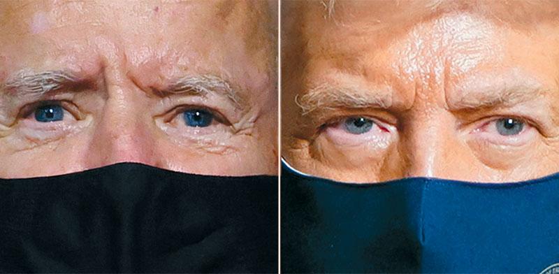 טראמפ (מימין) וביידן עוטים מסכות. הנשיא לגלג על ההקפדה / צילום: רויטרס