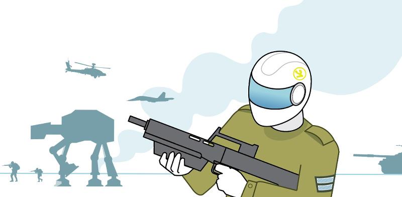 """גם בעוד עשור צה""""ל לא יהיה צבא של רובוטים, ואת ההחלטות יקבלו מפקדים בשר ודם / איור: איל אונגר, גלובס"""
