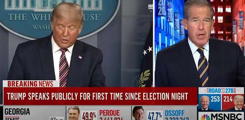 אולפן MSNBC חותך את שידור הנאום של דונלד טראמפ / צילום: צילום מסך