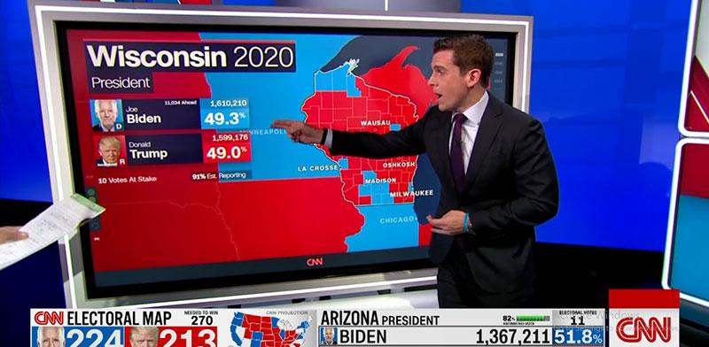 """אולפן CNN עוקב אחרי ההצבעות בבחירות בארה""""ב / צילום: צילום מסך"""