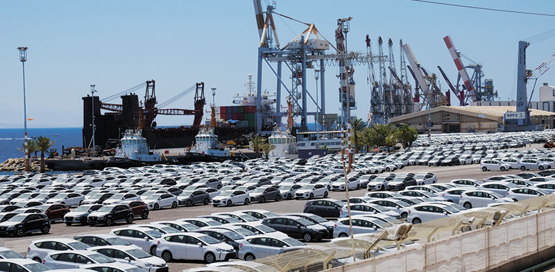 חניון רכבים מיובאים בנמל אילת. היבואנים והצרכנים נהנים מהשקל החזק / צילום: איל יצהר, גלובס