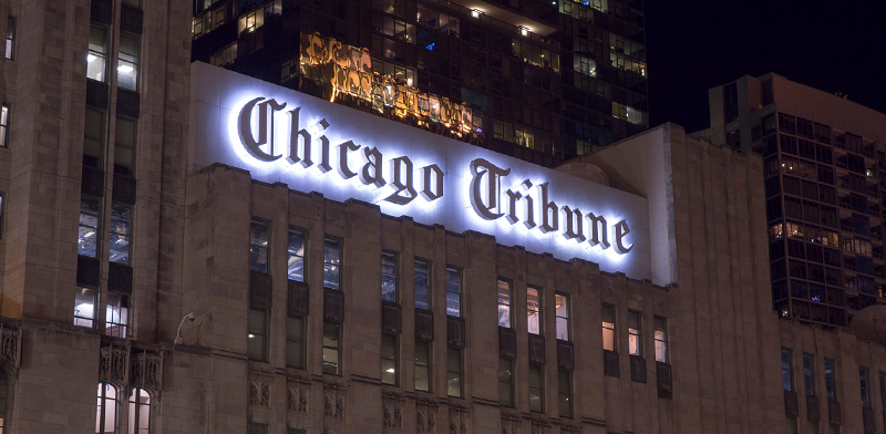 """בניין מערכת העיתון """"שיקגו טריביון"""" / צילום: shutterstock"""