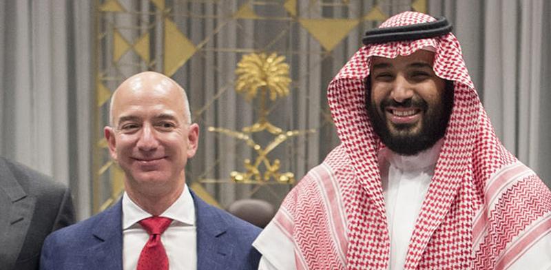 """הנסיך הסעודי מוחמד בן סלמאן ומנכ""""ל אמזון ג'ף בזוס / צילום: shutterstock"""