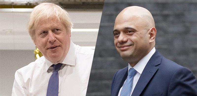 שר האוצר הבריטי סג'יד ג'וויד מול ראש ממשלת בריטניה בוריס ג'ונסון / צילומים: AP, רויטרס