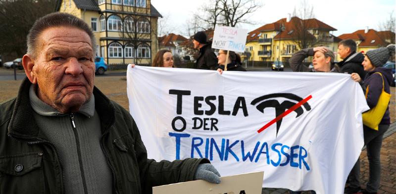 הפגנה של מקומיים נגד המפעל של טסלה / צילום: PAWEL KOPCZYNSKI, רויטרס