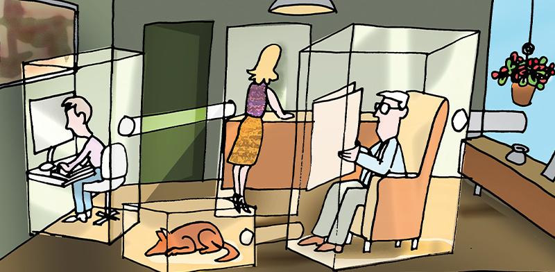 גם בבית ובמשרד אי אפשר להימנע מאוויר מזוהם / איור: גיל ג'יבלי, גלובס