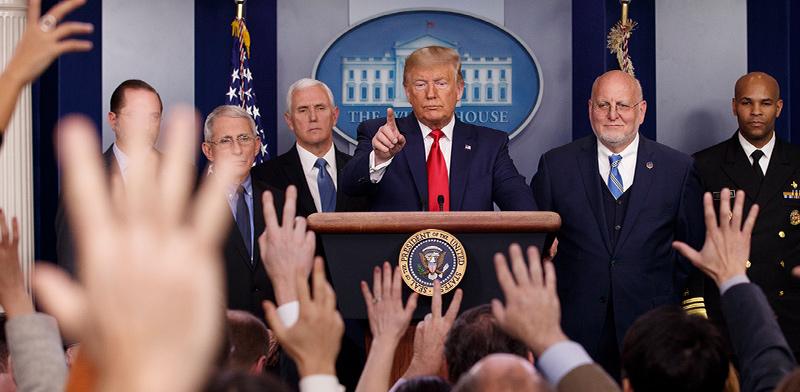 טראמפ במסיבת העיתונאים / צילום: Carolyn Kaster, Associated Press